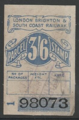 LONDON BRIGHTON & SOUTH COAST RAILWAY 3/6d BLUE PARCEL STAMP USED