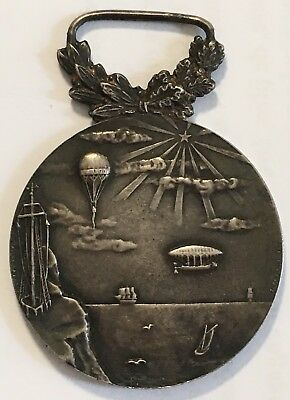 Tres Rare Medaille Aviation Marine Montgolfiere Ballon Dirigeable Argent Massif