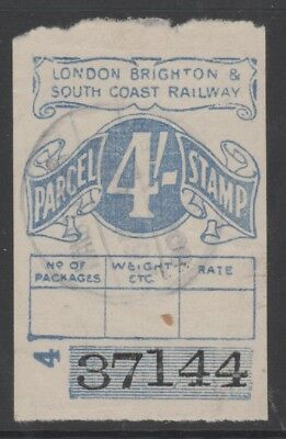 London Brighton & South Coast Railway 4/- Blue Parcel Stamp Used