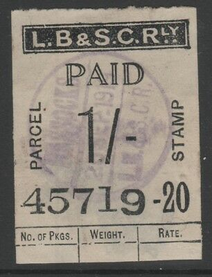London Brighton & South Coast Railway 1/- Black Parcel Stamp Used Hassocks 1919