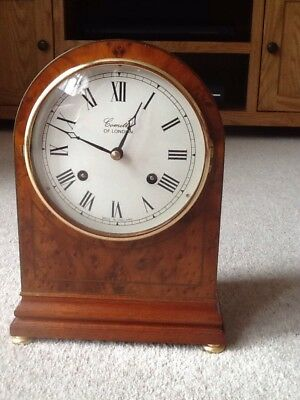 Comitti Of London Walnut Fronted With Mahogany Sides Bell Striking Mantal Clock