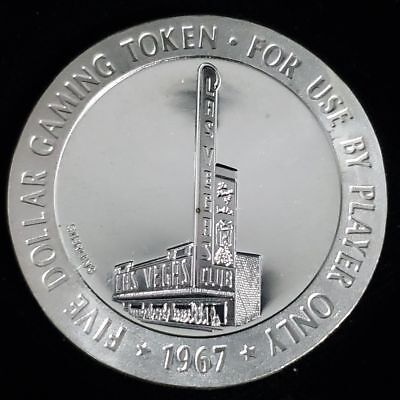 1967 Las Vegas Club Casino $5 Sterling Silver Proof Gaming Token Chip >GTLVC89