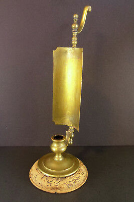 Vintage Wood & Brass Reflector Plate Candle Holder Candlestick Lamp