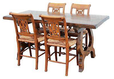 French Style Table & 4 Rush Rattan Chairs