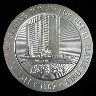 1967 The Four Queens Casino Las Vegas $5 Sterling Silver Proof Token Chip >GTQ93