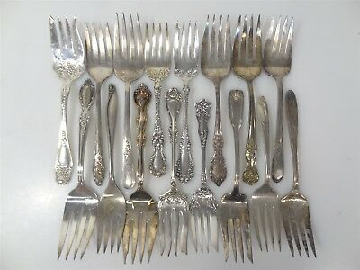 16 Antique Silver-Plated Floral Flat-Handled Serving Forks Crafts/Replacement