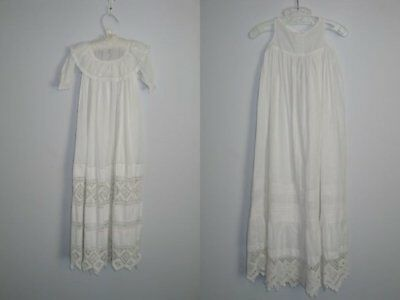 Antique 2 piece Baby~Infant-Dress~Gown w slip-Christening Baptismal Gown-LACE