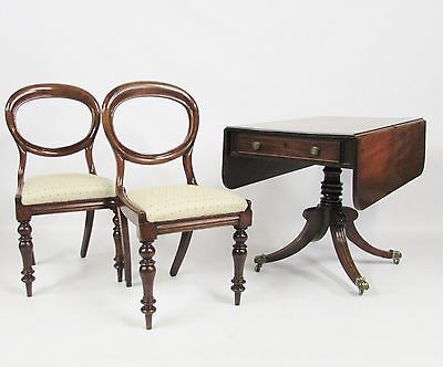Antique English Regency Period Mahogany Drop Leaf  Sofa Dining Table & X2 Chairs