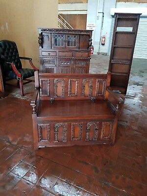 Old Charm Furniture Oak Monks Bench / Hall Chair/settle/pew Tudor Brown Colour