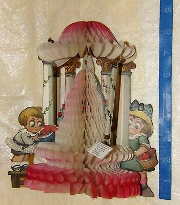 Antique Vintage VALENTINE German Diecut Fold Out Decor Honeycomb Cupid Hearts