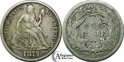 1875-CC Seated Liberty Silver Dime NICE GRADE rare old type coin above, within