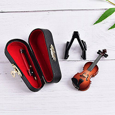 Mini Acoustic Violin Wooden Miniature Musical Instrument Dollhouse Toy Case S