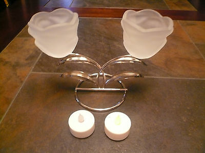 Candle Holder Set Silver Metal Stand With 2 Glass Shade Lantern Lamp Light Nib