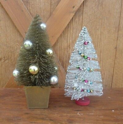 """2 - Vintage Christmas Bottle Brush Trees for Village/Train 12"""" Gold and Silver"""
