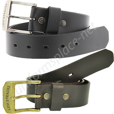 "Levis Leather Belt Mens 1 1/2"" genuine Bridle leather strap with beveled edges"