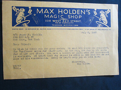 Max Holden's Magic Shop, Max Holden Note to Magician Jerry Conklin, 1947