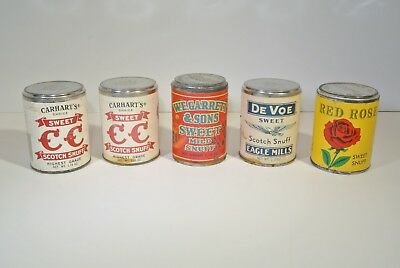 Lot Of 5 Sealed Unopened Sweet Scotch Snuff Tins - Red Rose, De Voe + More