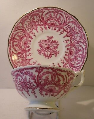 Stunning Coalport Footed Pink Cabinet Cup And Saucer