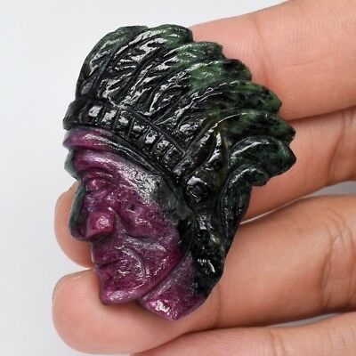 Rare! 102.67ct Indian Red Carving Natural Unheated Tri-Color Ruby With Zoisite
