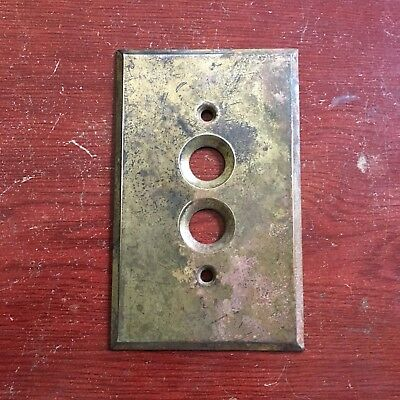 Antique Vintage Brass Push Button Light Switch Plate #8