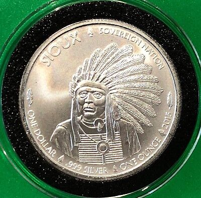 Sioux Indian & Bison Buffalo 1 Troy Oz .999 Fine Silver Round $1 Sovereign Coin
