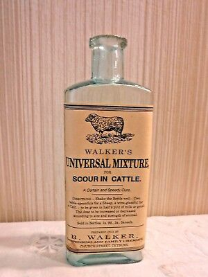 VINTAGE Walker's  Universal Mixture  for Scour in Cattle - Empty Bottle Adver
