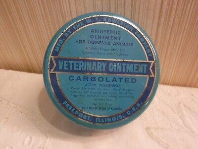 VINTAGE Rawleigh's Veterinary Ointment Round Metal Tin w Contents Advertising