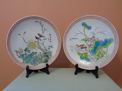 Pair of Chinese Hand Painted Signed Plates With Bird Scene