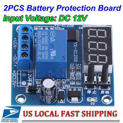 2pcs Automatic 12V Battery Low Voltage Cut off Turn On Excessive Protect Board