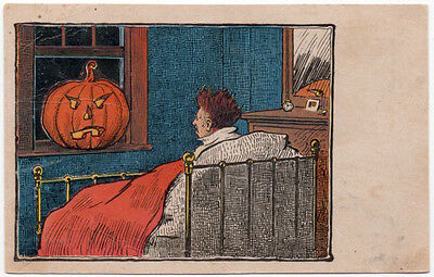 Halloween Postcard Jack-O-Lantern in Window Scares Man Awake~107705