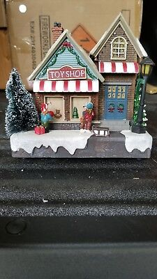 """Musical Light Up Christmas Village """"Toy Shop"""" Excellent Condition"""