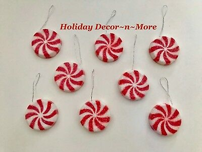 Set/8 Xmas Sugar Coated Mini Fake Peppermint Candy Lollipops Tree Ornaments New