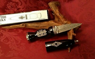 "8"" FIXED BLADE Historical Damascus SCOTTISH DIRK KNIFE Dagger Scabbard w/ SHEATH"
