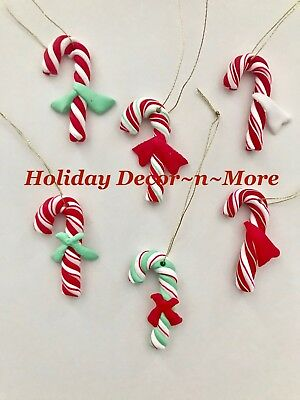 Set/6 Mini Peppermint Candy Cane Gingerbread Xmas Tree Ornaments Crafts Wreaths