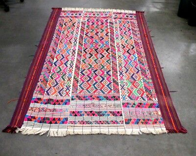 Multicolor Handwoven South American Guatemala Table Runner Blanket 84'' x 54''