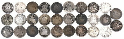 1837-1872 Seated Liberty Half Dimes Lot Of 29 Us Coins Ag-Damage Condition