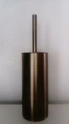 Brushed Metal Brass Coloured Toilet Brush Holder with Brush NEW