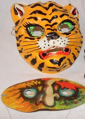 Vtg 2 Halloween Masks tiger is plastic face heavy flexible paper Colorful Retro
