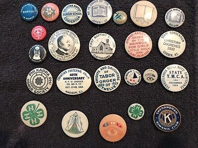 Over (20) Original 20's 30's  Fraternal & Religious Pin Buttons Very Nice