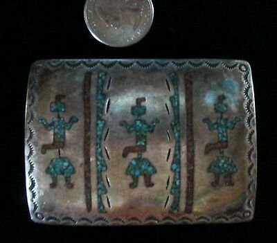 """Antique HOPI KACHINA Native American Silver Belt Buckle Turquoise Mosaic Pawn"""