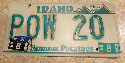 1988-90 stickers Idaho POW Prisoner of War License Plate LOW Number 20