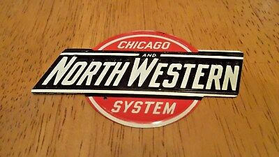 Vintage Tin Post Cereal CHICAGO AND NORTHWESTERN  Railroad Emblem Sign