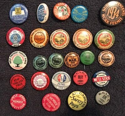 Over (25) Original 1930's  Labor Work Related  Pin Buttons Very Nice