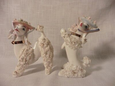 Two Vintage White Spaghetti Poodle's with Rose Petal Hat's