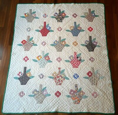 1930s BASKET APPLIQUE QUILT w/HISTORY OUTSTANDING Antique Vtg 76X88 JANNs QUILTs