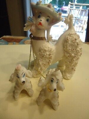 Vintage Pink Spaghetti French Poodle Family of Three Porcelain Figurine JAPAN