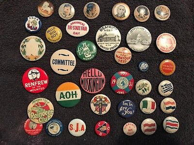 Over (35) Original 1920's 1930's  Assortment Of  Pin back Buttons Very Nice