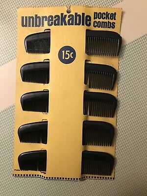 """5 Pocket Combs Vintage Antique Store Display Unbreakable Made In USA 5"""""""