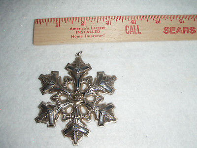 Gorham Sterling Silver Snowflake Christmas Ornament ~ 1985 Gold Filled Year Mark