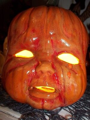 FRIGHTED Halloween CERAMIC MOLD JOL Pumpkin Light NEWLY BIRTHED CRYING OLD Baby